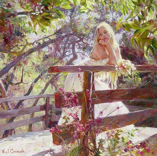 Garmash Artist - M I Garmash Artwork - On the Bridge by Garmash