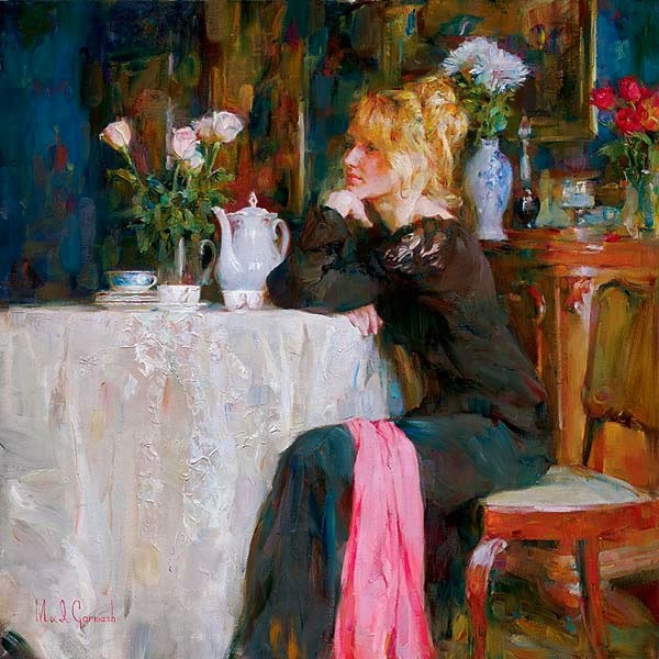 Garmash Artist - M I Garmash Artwork - Teatime DayDreams by Garmash