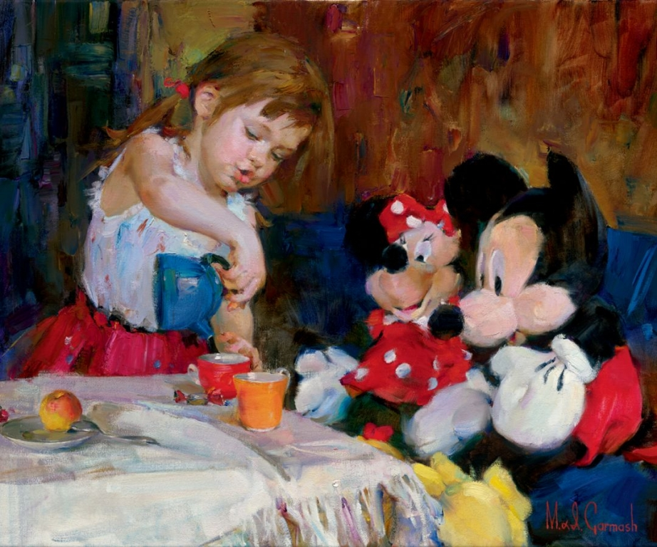 Garmash Artist - M I Garmash Artwork - Teatime with Mickey and Minnie by Garmash