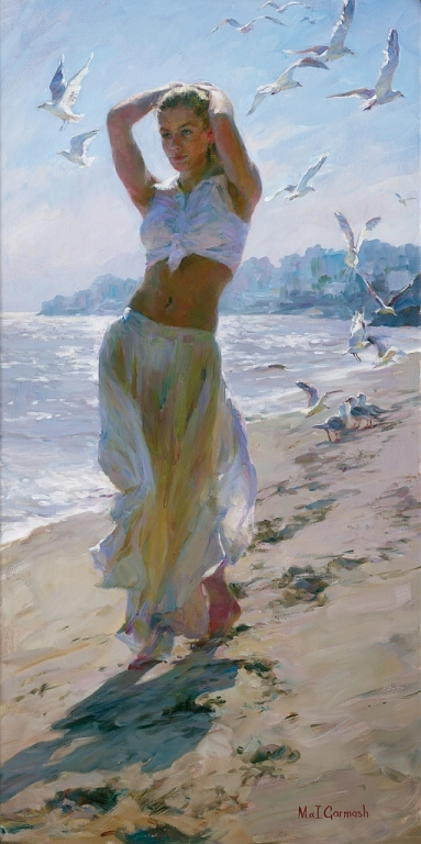Garmash Artist - M I Garmash Artwork - Walk on the Beach by Garmash