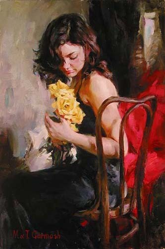 Garmash Artist - M I Garmash Artwork - Yellow Roses by Garmash