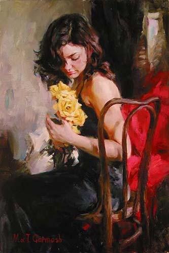 Garmash Artist - M I Garmash Artwork - Yellow Roses by Garmash