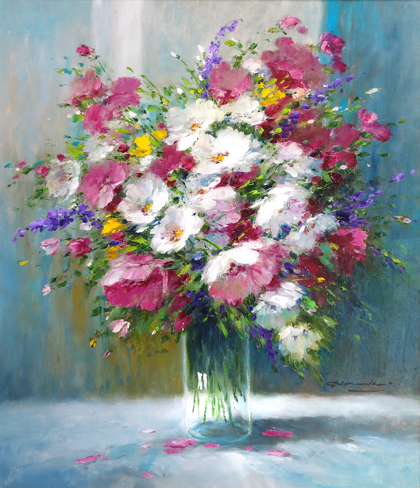 Gerhard Nesvadba Artist Fushia and Lavendar Floral