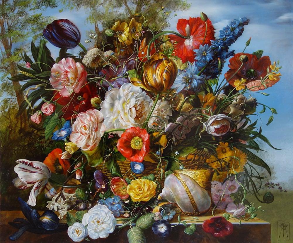 Gyula Siska Boutious Bouquet 27 x 31