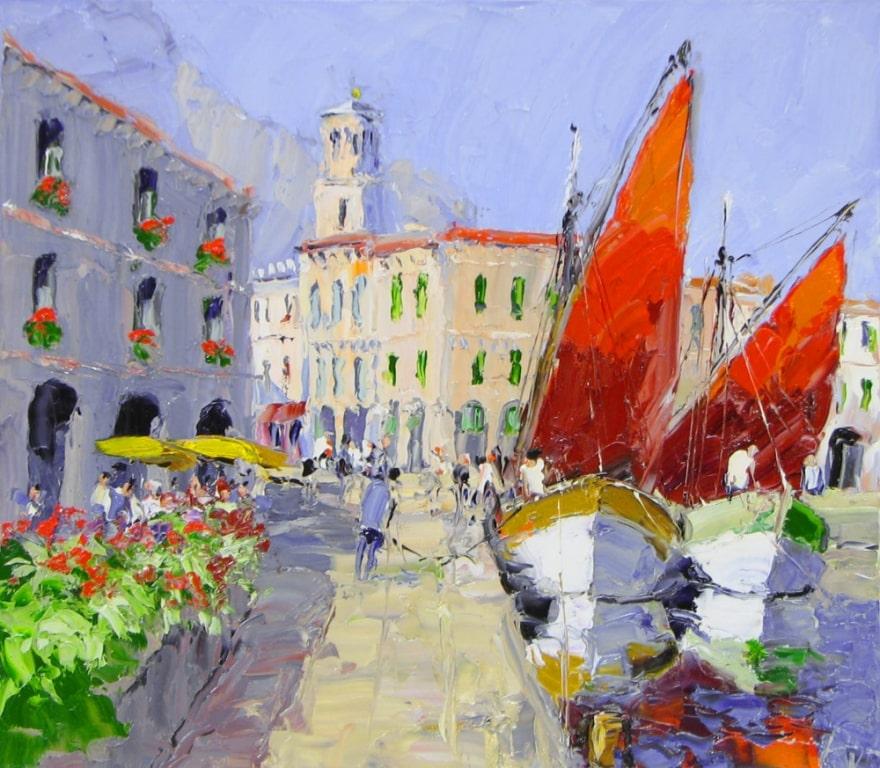 Harbor Town - 27 x 31 - Erich Paulsen Artist - Original Painting - Art Eric Paulsen