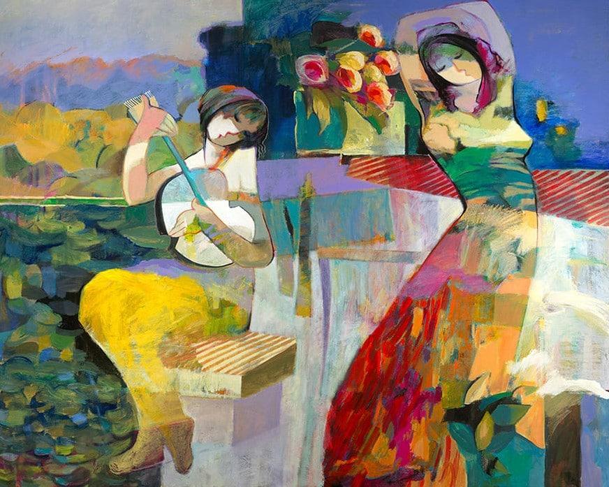 Idle Afternoon by Hessam Abrishami 48 x 60 embellished
