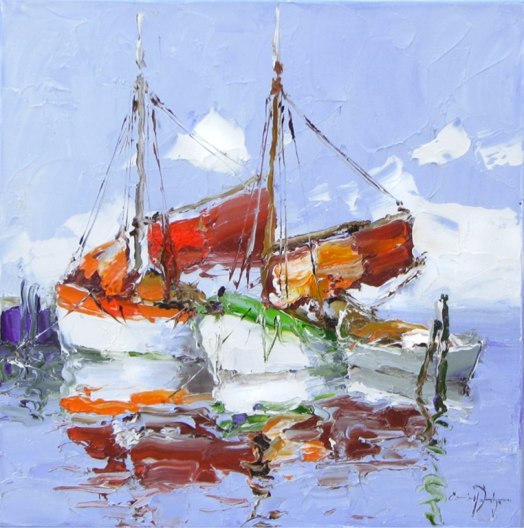 In The Harbor - 16 x 16 Erich Paulsen Artist - Original Painting - Art Eric Paulsen