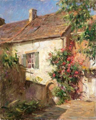 LEONARD WREN ARTIST -Cottage of Roses by Leonard Wren Artist