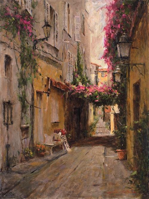 LEONARD WREN ARTIST - Street in Nice by Leonard Wren