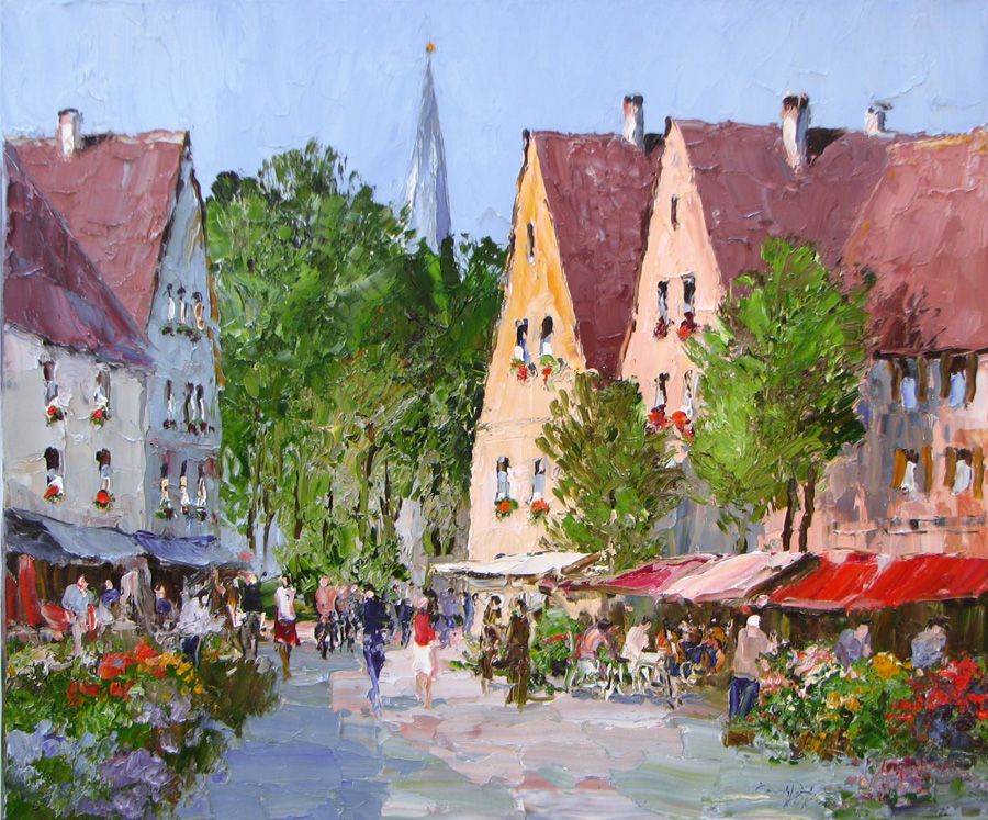 Monday in Munich - 39 x 47 - Erich Paulsen Artist - Original Painting - Art Eric Paulsen