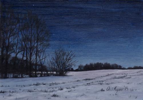 PAUL KEYSAR ARTIST - Snowy Field at Night