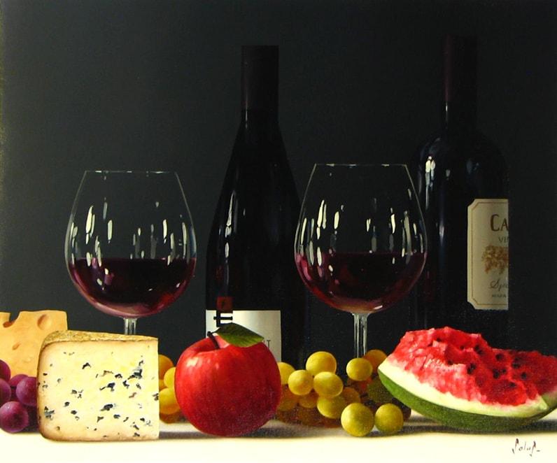 ROBERTO SALAS ARTIST Original Wine Painting
