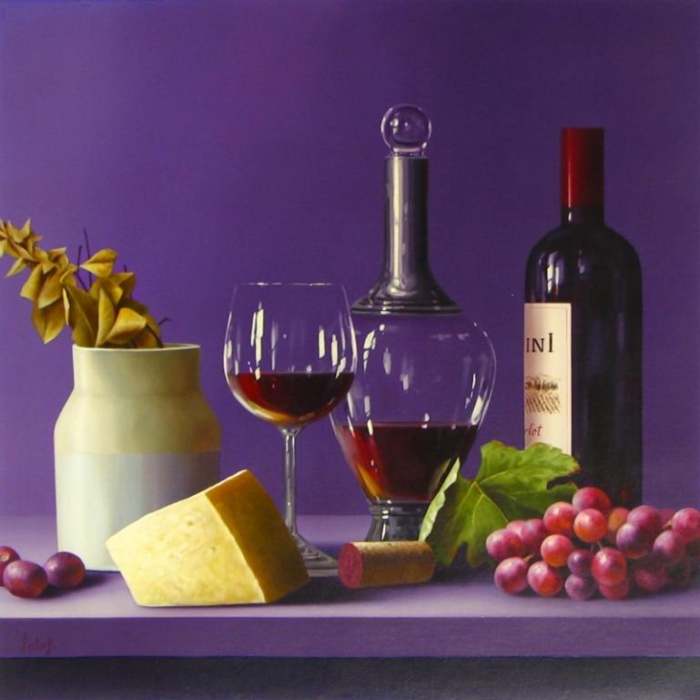 ROBERTO SALAS ARTIST Original Wine Painting 3