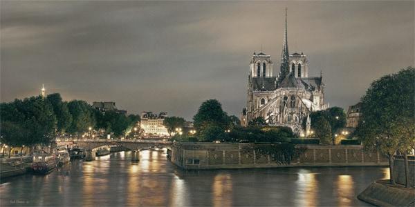 ROD CHASE ARTIST - Notre Dame de Paris by Artist Rod Chase 15 x 30