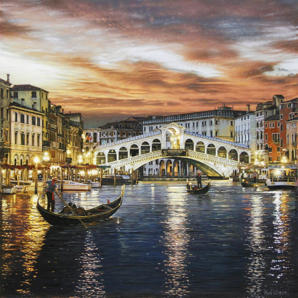 ROD CHASE ARTIST - Rialto Bridge Venice by Artist Rod Chase 24 x 24