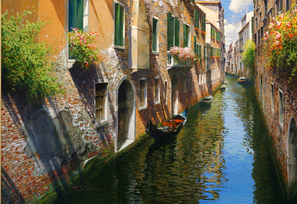 Raffaele Fiore - Gondolas on the Canal
