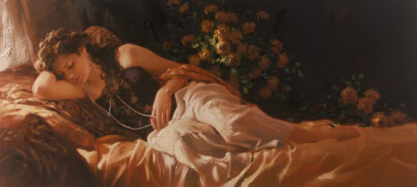 Richard Johnson Artist Amber and Pearls 24 x 52