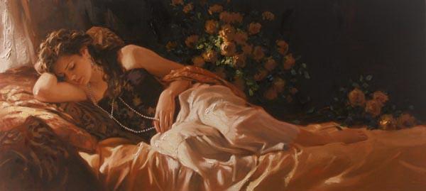 Richard Johnson Artist Amber and Pearls 24 x 52