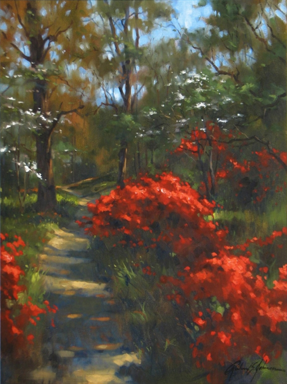 Richard Johnson Artist Original Fischer Park 24 x 18