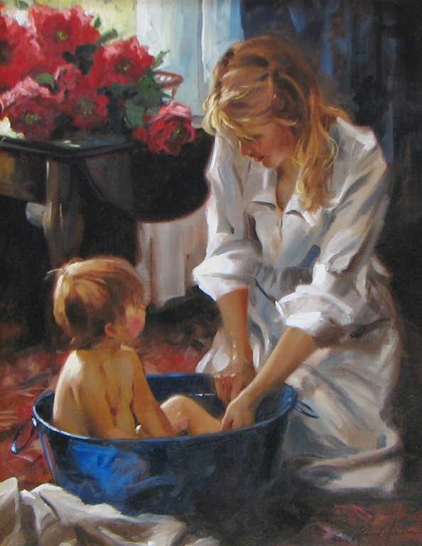 Richard Johnson Artist Original Morning Bath 22 x 28