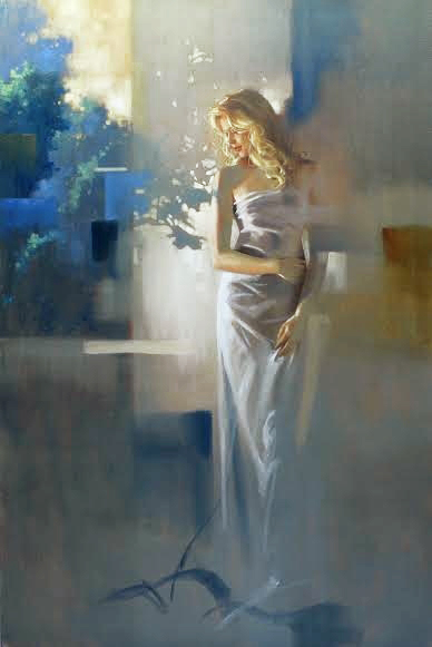 Richard Johnson original painting - Twilight Garden 36x24