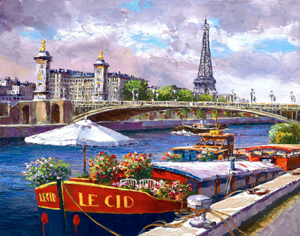SAM PARK ARTIST - Along the Seine 14 x 18 by Sam Park Artist