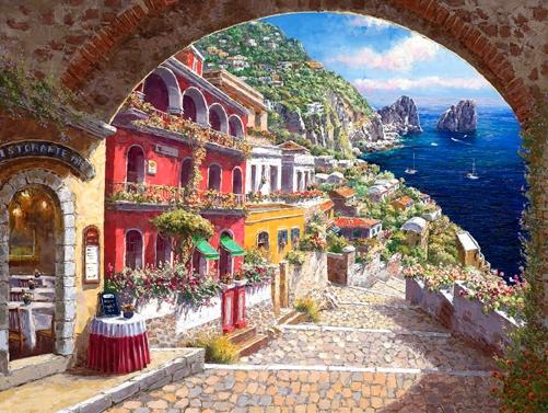 SAM PARK ARTIST - Archway to Capri 30 x 40 by Sam Park Artist