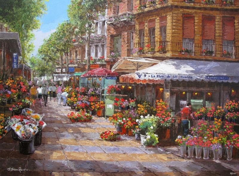 SAM PARK ARTIST - Barcelona Flower Market 30 x 40 by Sam Park Artist