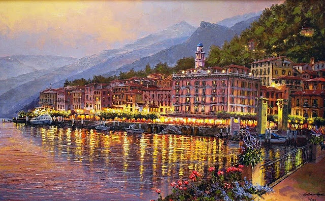 SAM PARK ARTIST - Bellagio Twilight 20 x 32 by Sam Park Artist