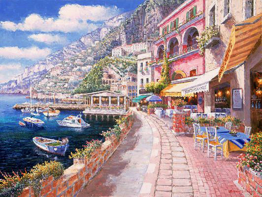 SAM PARK ARTIST - Dockside at Amalfi 24 x 32 by Sam Park Artist