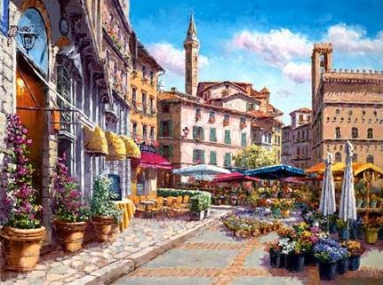 SAM PARK ARTIST - Florence Flower Market 18 x 24 by Sam Park Artist