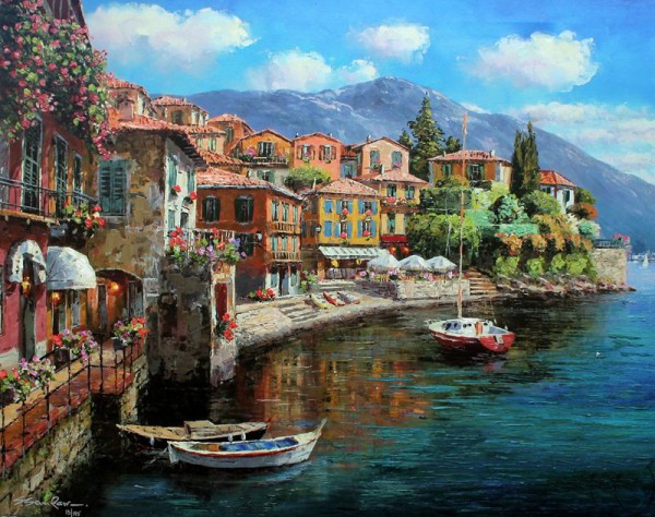 SAM PARK ARTIST - Harbor at Varenna 24 x 30 by Sam Park Artist