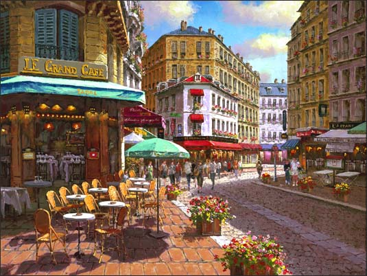 SAM PARK ARTIST - Le Grand Cafe 30 x 40 by Sam Park Artist