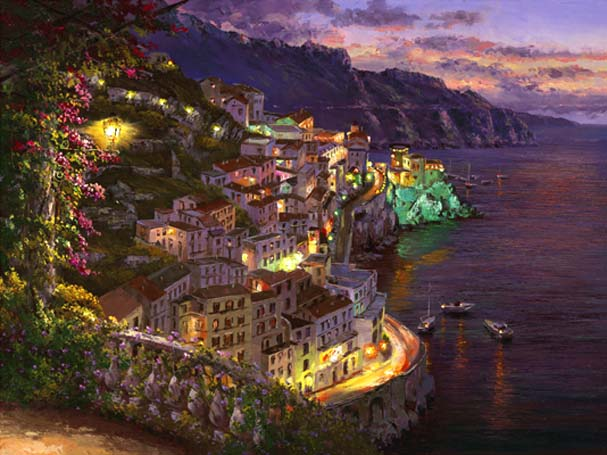 SAM PARK ARTIST - Lights of Amalfi 18 x 24 by Sam Park Artist