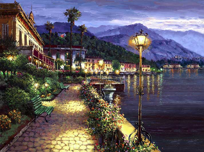 SAM PARK ARTIST - Lights of Bellagio 24 x 32 by Sam Park Artist