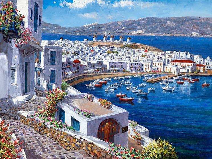 SAM PARK ARTIST - Mykonos Harbor 30 x 40 by Sam Park Artist