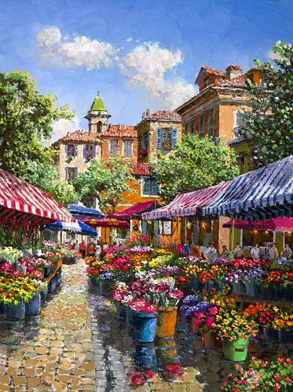 SAM PARK ARTIST - Nice Flower Market 24 x 18 by Sam Park Artist