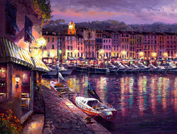 SAM PARK ARTIST - Night View of St Tropez 18 x 24 by Sam Park Artist