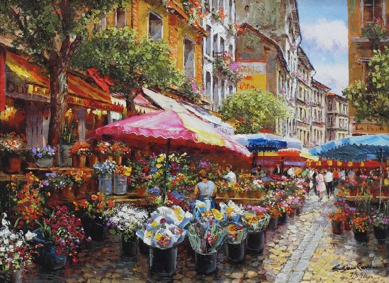 SAM PARK ARTIST - Paris Blossoms 14 x 18 by Sam Park Artist