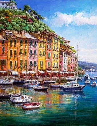 SAM PARK ARTIST - Portofino Vista 18 x 14 by Sam Park Artist