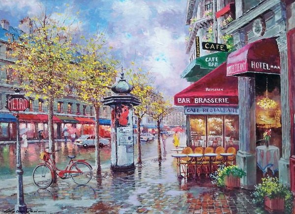 SAM PARK ARTIST - Rainy Day in Paris 18 x 24 by Sam Park Artist