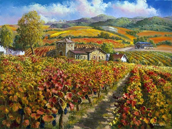 SAM PARK ARTIST - Red Vineyards of Napa Valley 30 x 40 by Sam Park Artist