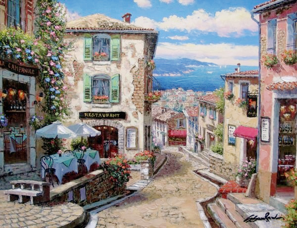 SAM PARK ARTIST - Rendezvous in Nice 24 x 32 by Sam Park Artist
