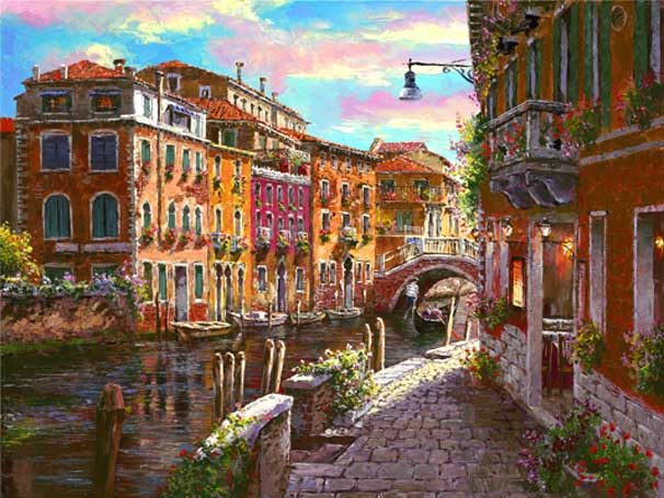 SAM PARK ARTIST - Shimmering Canal 18 x 24 by Sam Park Artist
