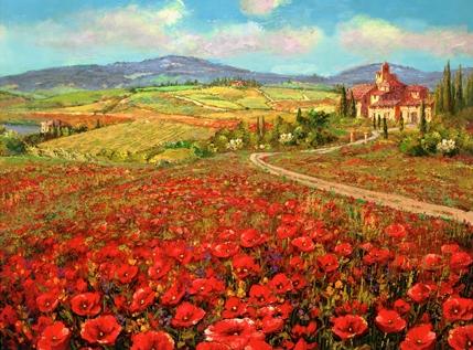 SAM PARK ARTIST - Tuscany Summer 21 x 28 by Sam Park Artist