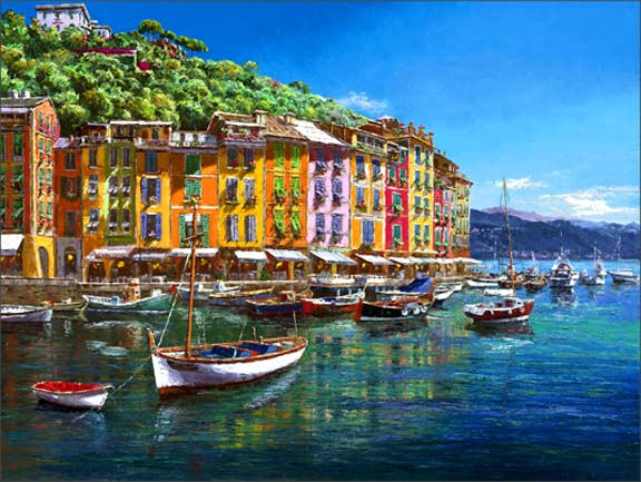 SAM PARK ARTIST - View of Portofino 30 x 40 by Sam Park Artist