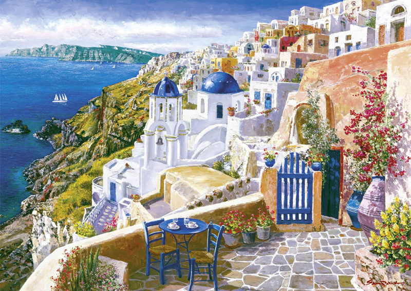 SAM PARK ARTIST - View of Santorini 32 x 45 by Sam Park Artist 2