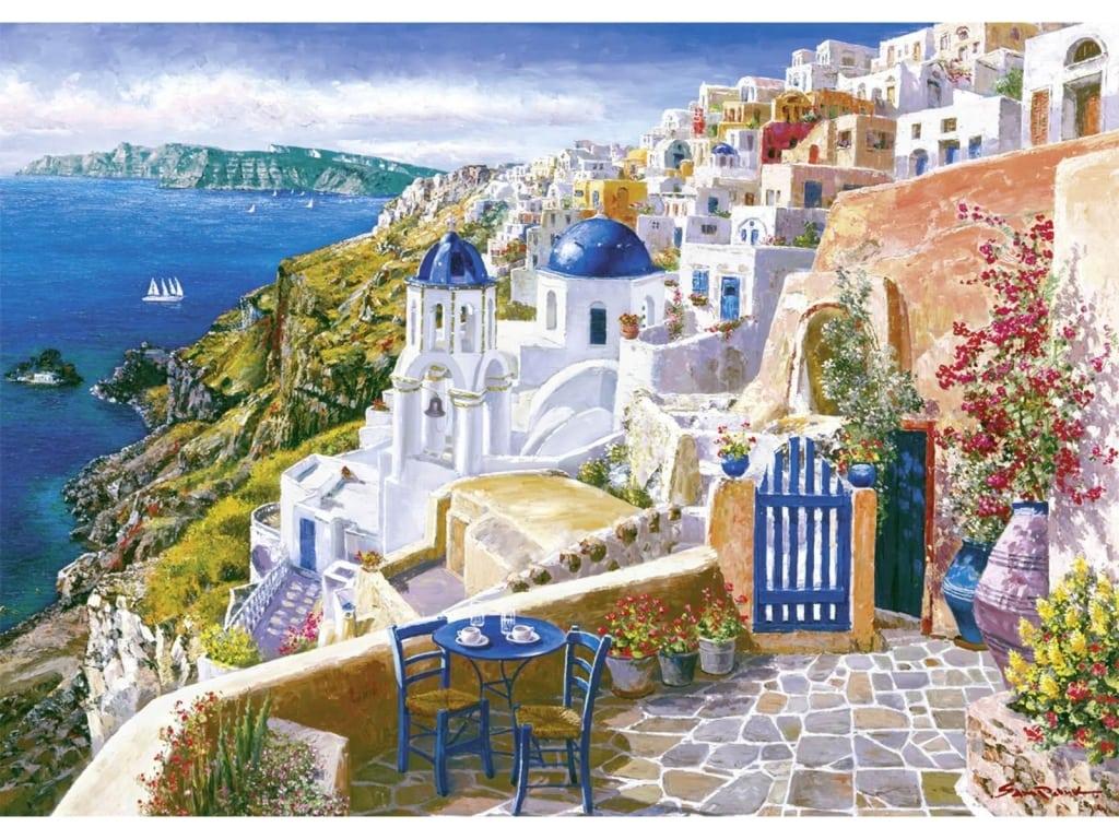 Sam Park Artist View Of Santorini 32 X 45 By Sam Park