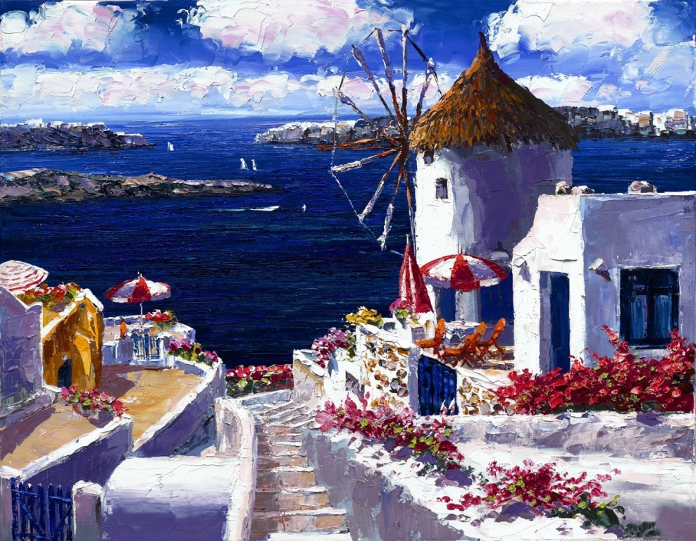 SAM PARK ARTIST - Windmill at Santorini 14 x 18 by Sam Park Artist