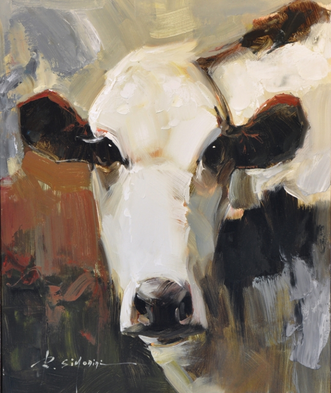 SIMONINI ARTIST - Cow Painting by Simonini